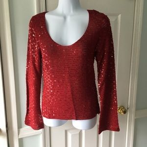 INC red sequence long sleeve shirt
